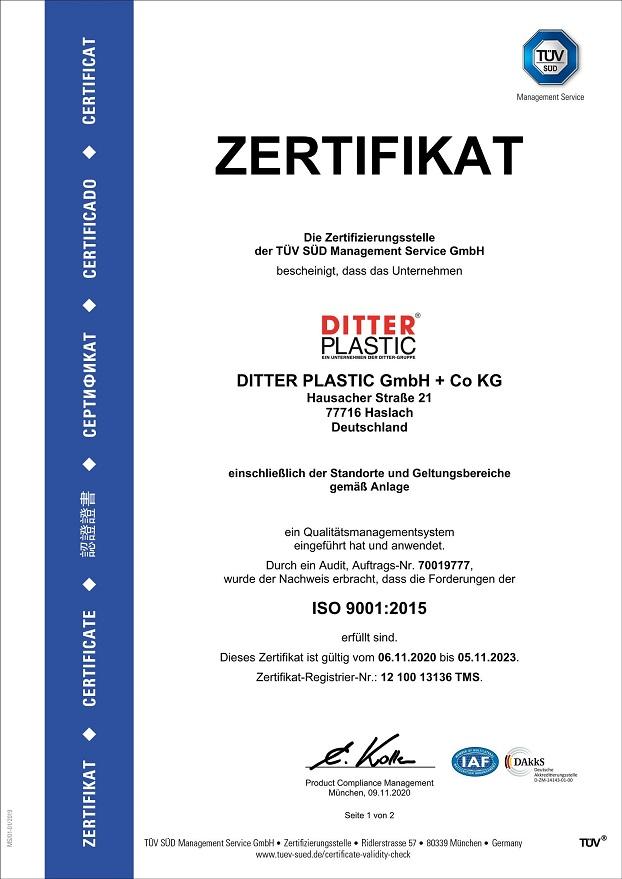 Certifications   www.ditter-plastic.de
